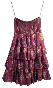 American Eagle Outfitters short dress purple and multi floral Riffle Tye Neck Tube Top on Tradesy