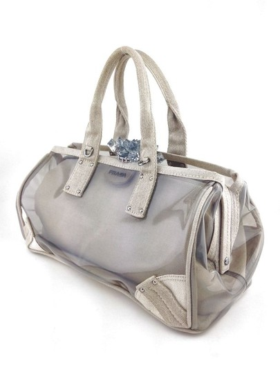 Prada Crystal Silver Hardware Satchel in Natural