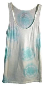 American Eagle Outfitters Tye Dye Top white and teal