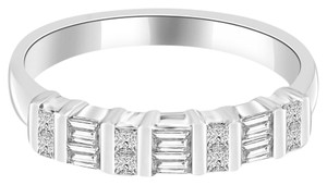 Avi and Co 1.00 cttw Princess & Baguette Cut Diamond Wedding Band 14K White Gold