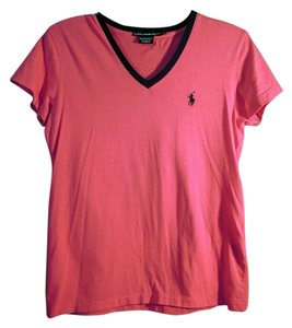 Ralph Lauren V-neck T Shirt hot pink and navy