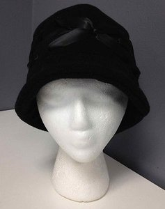 Other Sw Strong Wear Black Polyester Fleece Ribbon Accented Winter Bucket Hat B3019