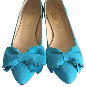 Butter Bow Suede Turquoise Made In Italy Turquoise suede Flats