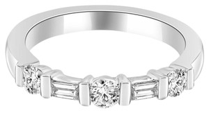 Avi and Co 0.62 cttw Round & Baguette Cut Diamond Wedding Band Platinum