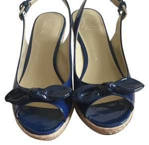 Franco Sarto Slingback Open Toe Straw Covered Sole Dark blue Wedges