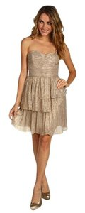 Max And Cleo Gold Metallic Rebecca Lurex Knit Dress Dress