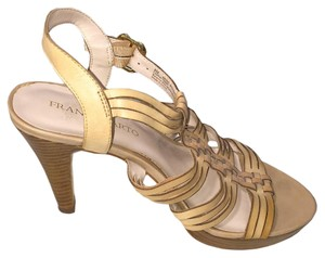 Franco Sarto Heels Woodgrain High Heel Ankle Strap Beige Sandals