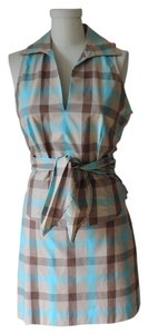 BCBG Max Azria short dress turquoise, beige, light brown New With Tag Tiffany Blue & Coffee Plaid on Tradesy