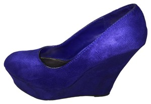 Brash Padded Insole Suede Platform Blue Wedges