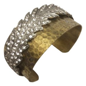 Other Crystal Feather on Antique Brass Bracelet