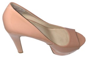 Nine West Easy Slip On Chunky Heel Peep Toe Tan Pumps