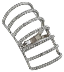 Michael Kors RARE NWT Silvertone Crystal Cage Ring MKJ44260407 SIZE 7