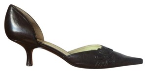 Anne Klein Black Kitten Heel Floral Pumps