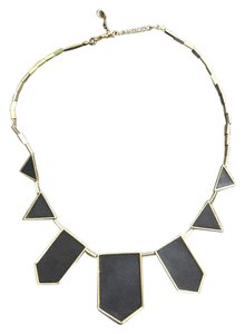 House of Harlow 1960 House of Harlow Gold and Black Leather Station Necklace