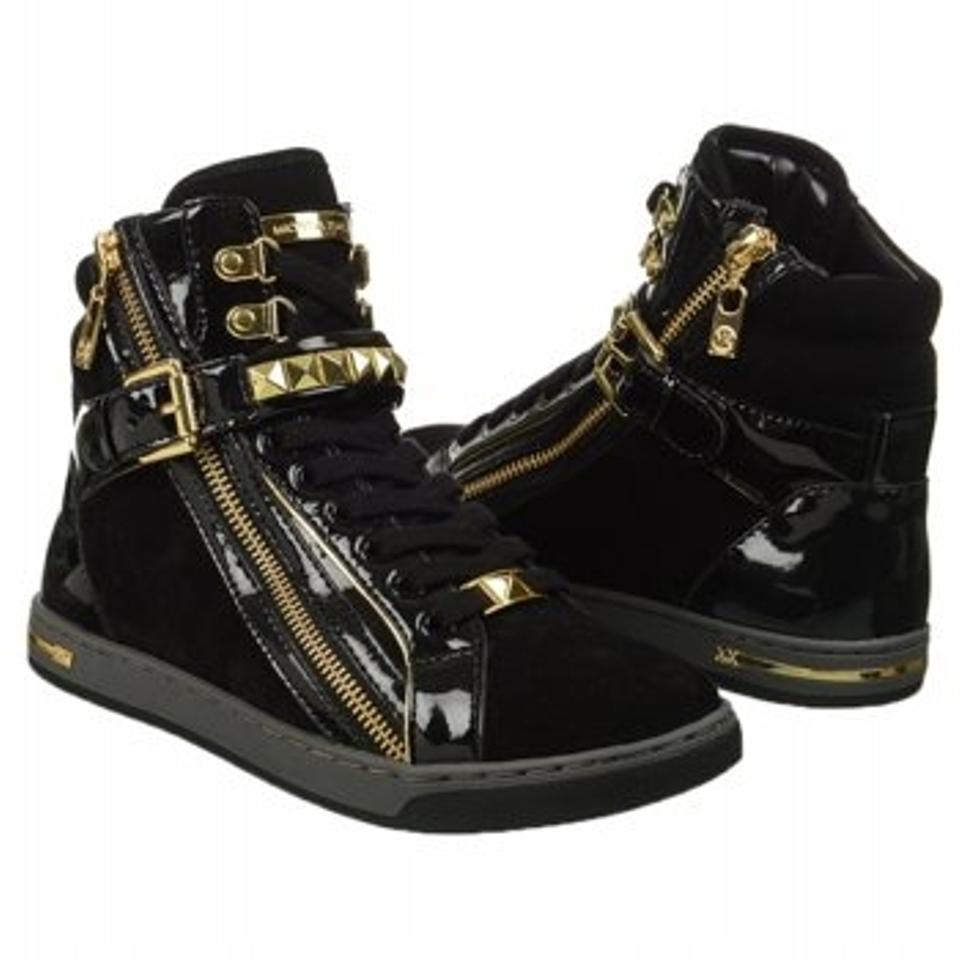 2f1e65e87fb4 Michael Kors Black Glam Studded High Top Leather High Top Sneakers Sneakers