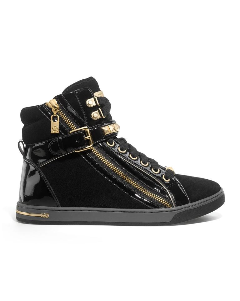 8d0a3d15bd86 Michael Kors Mk Glam Studded Leather Suede Patent High Top Sneakers Women  Ladies Misses Girls Juniors. 12345678