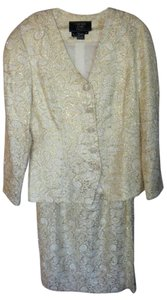 Carmen Marc Valvo Ivory / Gold Metallic Threads Beaded Suit For The Mature Bride Or Mob Dress