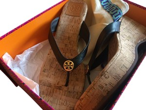 Tory Burch Wedge Thong Sandal Designer black Sandals