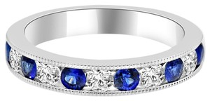 Avi and Co 1.40 cttw Round Cut Diamond and Sapphire Channel Set Wedding Band 14k White Gold