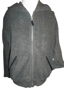 Jennifer Moore Fleece Small Hooded Full Zip Gray Jacket