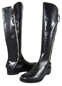Sergio Rossi Leather Flat Black Boots