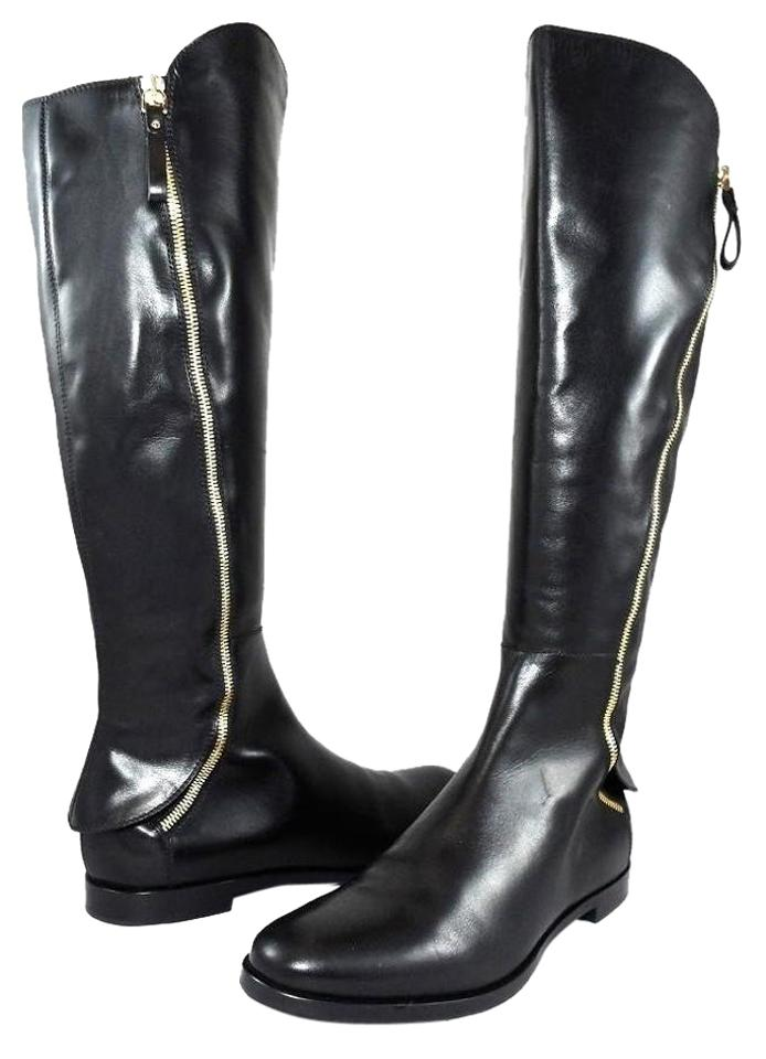 Sergio Rossi Black Unique Knee Leather Zipped Pull On Knee Unique High Flat Riding Designer Boots/Booties 480714