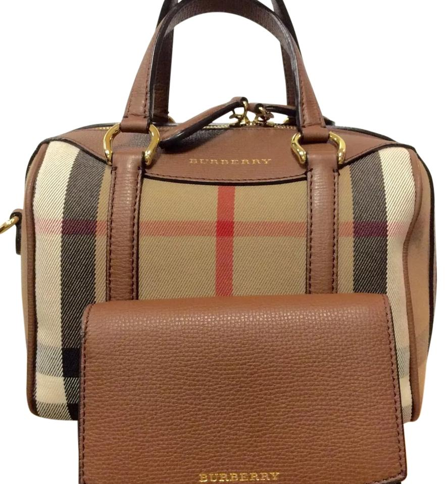 29d9b46c4ea7 Burberry Handbag Matching Wallet Small Alchester Derby House Check Brown  Fabric   Leather Cross Body Bag