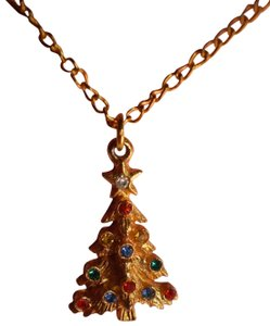 Other Goldtone Christmas Tree w/Rhinestones Necklace