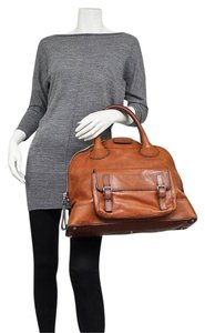 Chloe Rare Leather Muscade Edith Dome Bowler Tote Handbag Designer Satchel in Brown