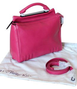 3.1 Phillip Lim Leather Adjustable Shoulder Strap Detachable Should Strap Versatile Minimalism Chic Satchel in Cranberry (pink red)