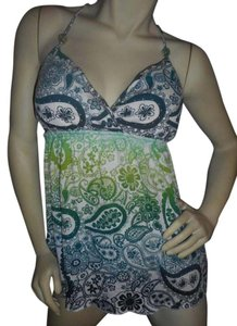 Self Esteem Tunic V-neck Flowing Summer Top Teal, greens, blues on white