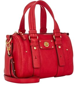 Marc by Marc Jacobs Leather Gold Hardware Doctor Style Shifty Turnlock Satchel in Red