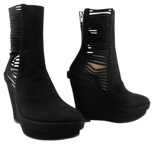 Ann Demeulemeester Wedge Platform Leather Strappy Black Boots