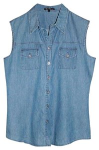 Velvet Heart Button Down Denim Sleeveless Button Down Shirt BLUE