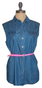 Velvet Heart Denim Sleeveless Button Down Shirt BLUE