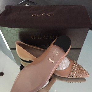Gucci Leather Flat Studded Nude Beige Flats