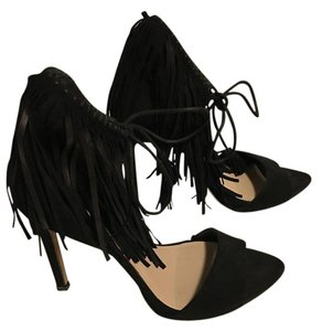 Zara Fringe High Heels Suede Black Sandals