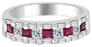 Avi and Co 1.66 cttw Princess & Baguette Cut Diamond and Ruby Wedding Band 18K White Gold