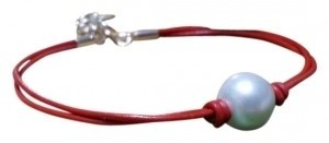 Other Sterling Silver Freshwater Natural White Pearl Red Leather Bracelet
