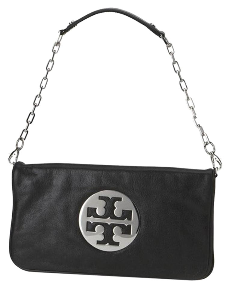 cead23f6278 Tory Burch Reva Clutch Black with Silver Hardware Leather Shoulder ...