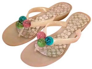 Coach Jelly Flipflops Tricolor Clear Sandals