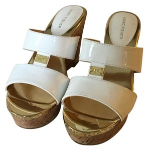 Marc Fisher Wedge New Casual Summer White and gold Wedges
