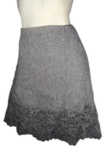 Ann Taylor Floral Embrodary Wool Blend Skirt