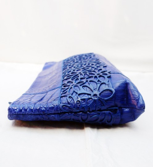 Nancy Gonzalez Cobalt Floral Blue Clutch