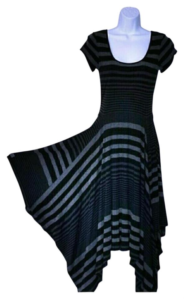 1031e298fc Signature by Robbie Bee Black and Gray Stripe Shark Tooth Hem Work Office  Dress