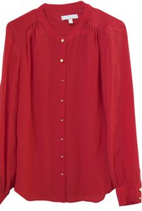 Banana Republic Silk Gold Buttons Button Down Shirt Red