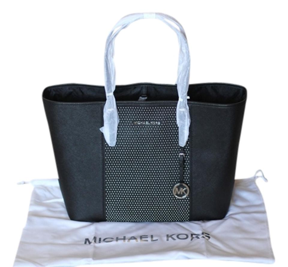6f0a8ce2a737 MICHAEL Michael Kors Studded Center Stripe Saffiano Leather Silver Hardware  Signature Name Plague Logo Tote in ...