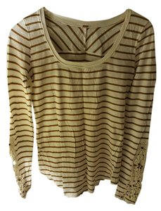 Free People Henley Thermal Striped Top Striped (Tan/Ivory)