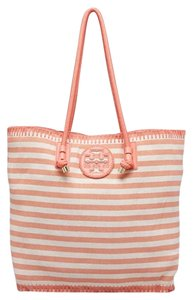 Tory Burch Beach Summer Large Striped Tote in Pink