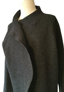 Eileen Fisher Wool Light Weight Snap Closures Loose Fit Rich Gray Color Cardigan
